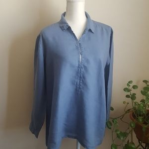 Eileen Fisher Blue Linen Roll Tab Sleeves M